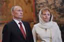 Poetin en zijn vrouw Lyudmila tijdens zijn inauguratie vorig jaar mei.