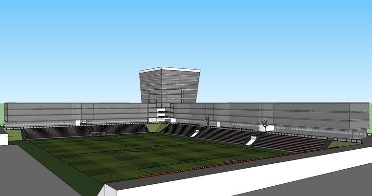 Zo moet het vernieuwde Burgemeester Van de Wielestadion aan de Stadionlaan er volgens de plannen van Denijs Van De Weghe tegen de zomer van 2018 uitzien.