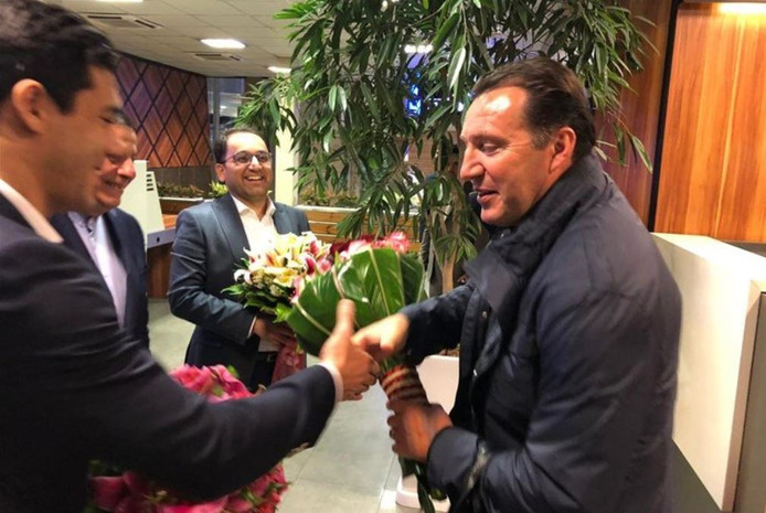Marc Wilmots à son arrivée en Iran