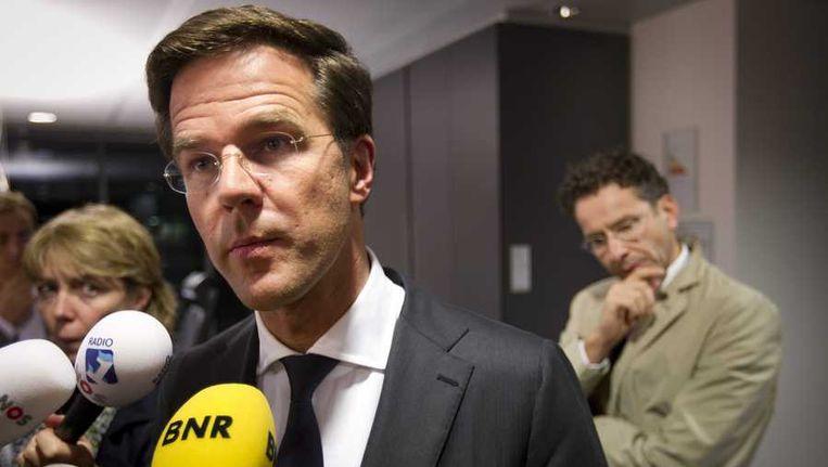 Premier Mark Rutte staat de pers te woord na het overleg over de begroting op het ministerie van Financiën Beeld anp