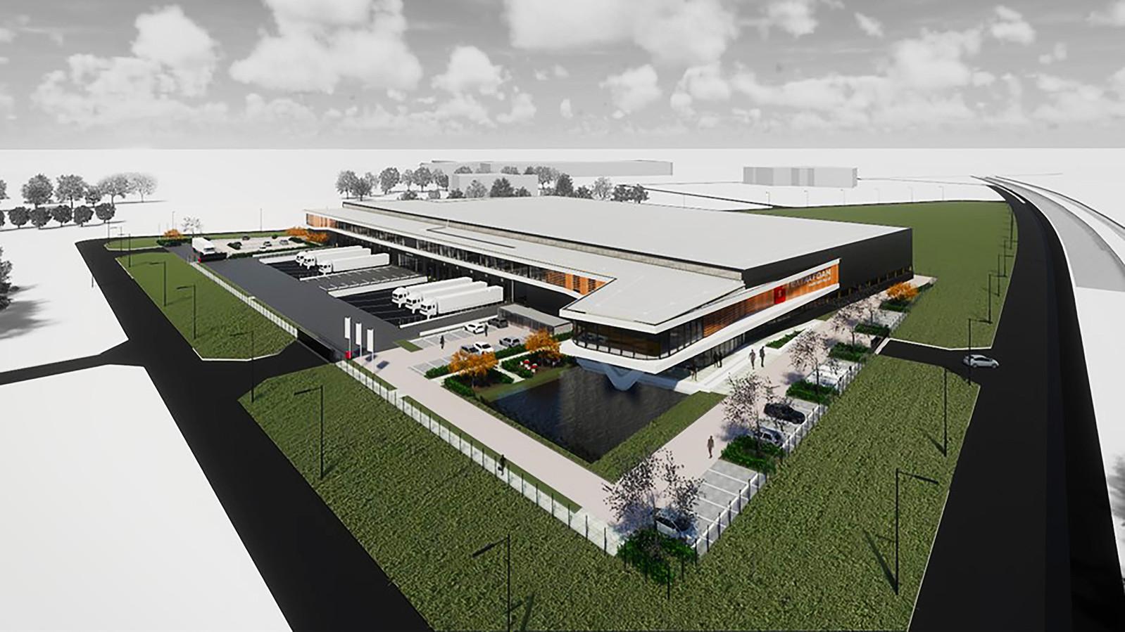 Een impressie van het nieuwe gebouw van Textaafoam. Dat moet in augustus klaar zijn, zo hoopt eigenaar Mark van der Aa.