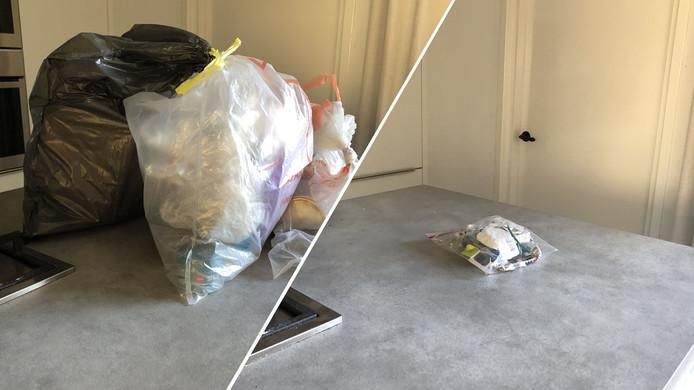 Links een normale week, rechts de afvalvrije