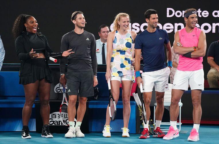 Serena Williams, Dominic Thiem, Petra Kvitova, Novak Djokovic en Rafael Nadal.