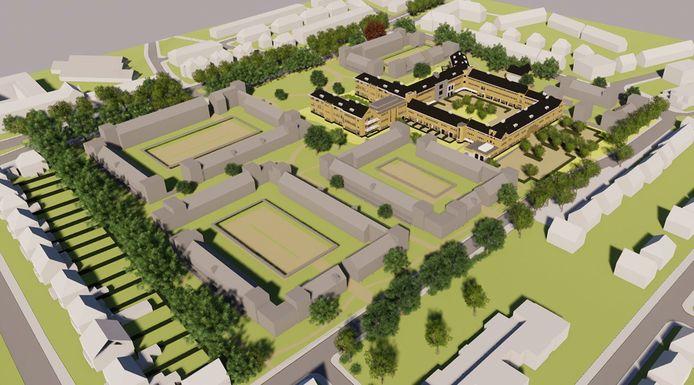 Recente impressie van de nieuwbouw op het terrein van het vroegere Geertruiden-ziekenhuis. Goed zichtbaar zijn de overeind gebleven delen van het ziekenhuis, waar appartementen in komen.