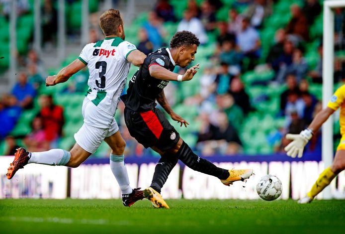 FC Groningen-PSV Donyell Malen haalt uit voor de 2-1 Foto ; Pim Ras