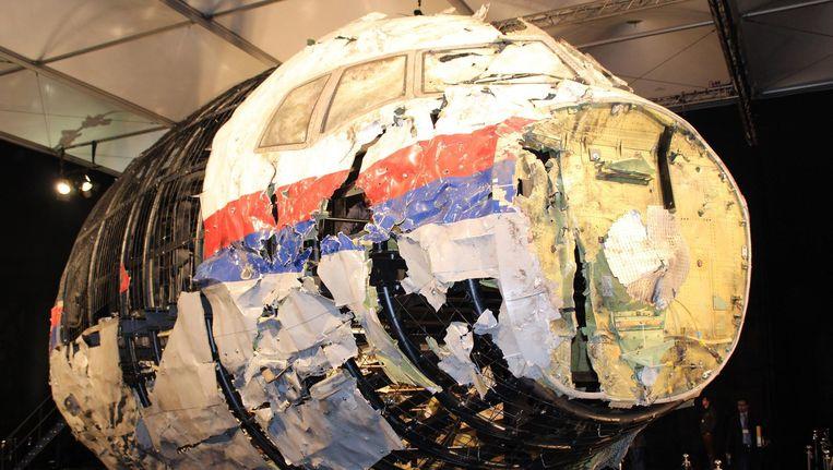 De restanten van de MH17, zoals getoond tijdens de presentatie van een onderzoeksrapport. Beeld afp