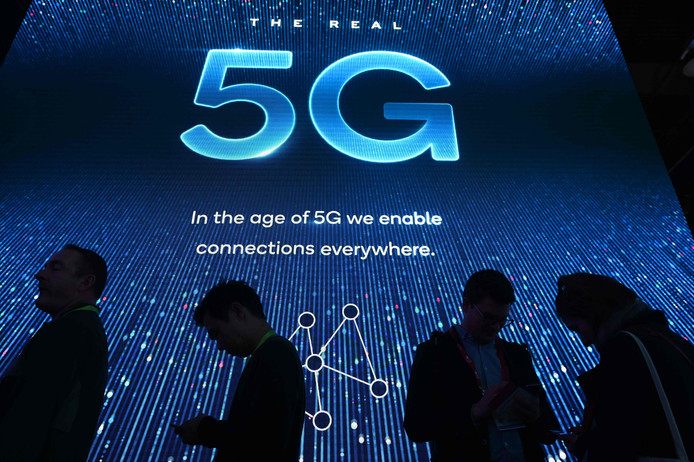 5G - hier op een elektronicabeurs in Las Vegas - moet de nieuwe standaard worden voor draadloze communicatie.