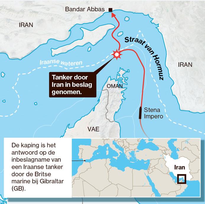 de Straat van Hormuz met de route van de door Iran aan de ketting gelegde Britse tanker de Stena Impero.