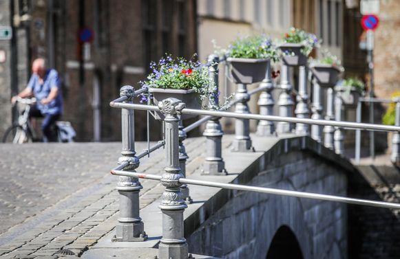 De eerste tien bloembakken hangen aan de Carmersbrug.