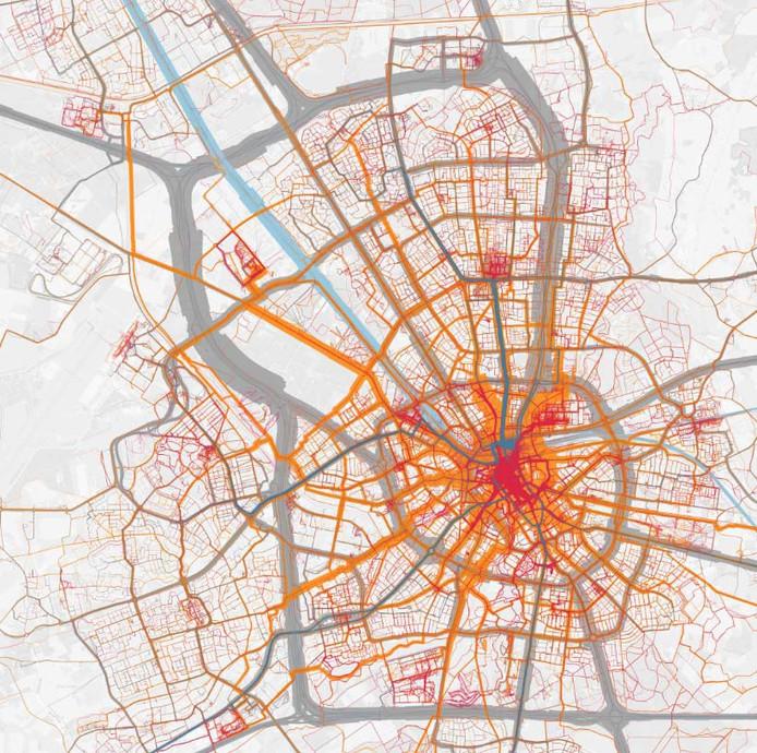 Reiskilometers in Eindhoven in beeld gebracht, met behulp app Sesamo. Rood is lopen; oranje fiets; blauw ov; grijs auto.