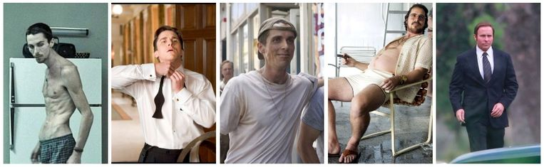 Van links naar rechts: Christian in 'The Machinist', in 'Batman Begins', in 'The Fighter', in 'American Hustle' en in 'VICE'.