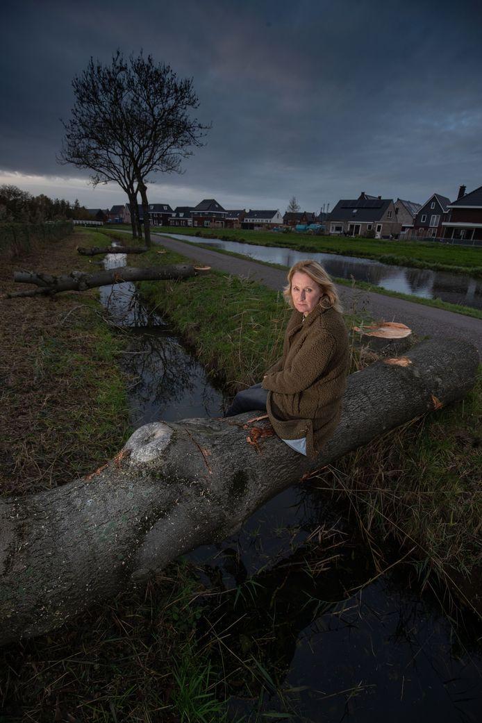 Elise van Heck op een reeds gekapte es aan de Trekvaart.