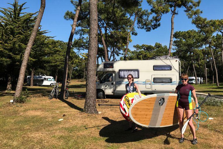 Toeristen op een camping in Île d'Oléron, vorig jaar april. Beeld Belga