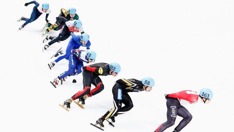 Jens Almey, met nummer 102, slaagde er op de 1.500m in Calgary niet in zich te plaatsen voor de halve finale