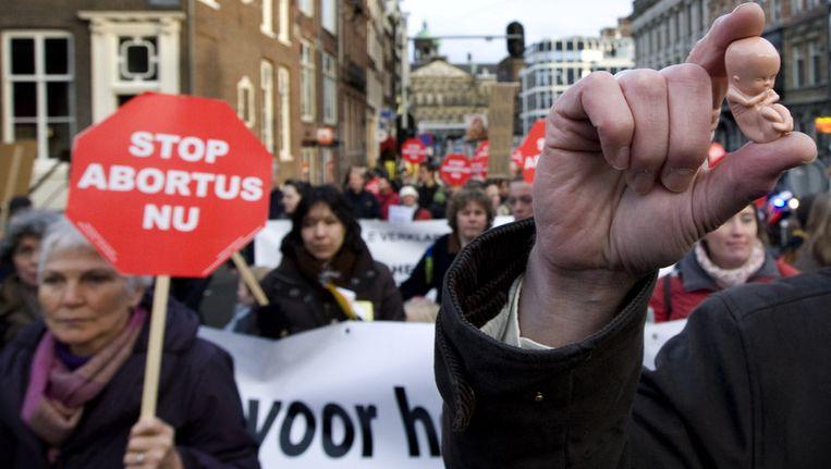 December 2008: een betoging van de anti-abortusorganisatie Schreeuw om Leven in Amsterdam. Beeld anp