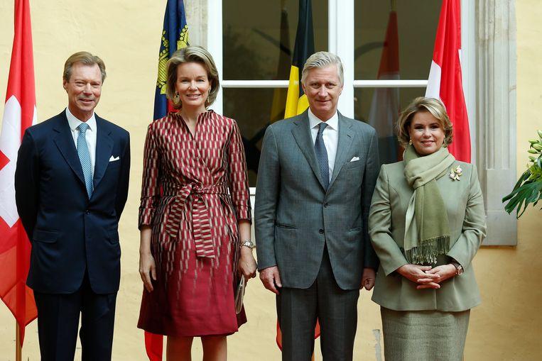 Filip en Mathilde op bezoek bij zijn neef groothertog Henri en groothertogin María Teresa Mestre.