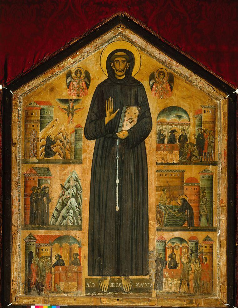 Bonaventura Berlinghieri, Franciscus te midden van voorstellingen uit de eerste levensbeschrijving van Franciscus door Thomas van Celano, 1235. Beeld null