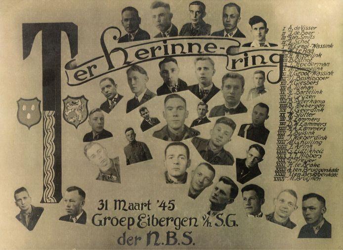 Herinnering aan de groep Strijdend Gedeelte (SG) van de NBS in Eibergen, zoals deze op 31 maart 1945 'bovengronds' kwam.