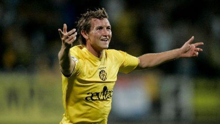 Roda JC-speler Mads Junker scoort 1-1 tegen Vitesse. ANP Beeld