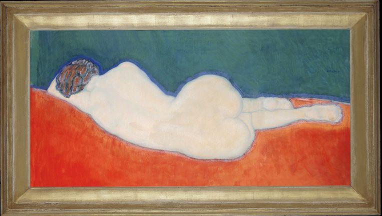 Liggend naakt (op de rug gezien), 1911, gouache en pastel op papier. Beeld Gestel