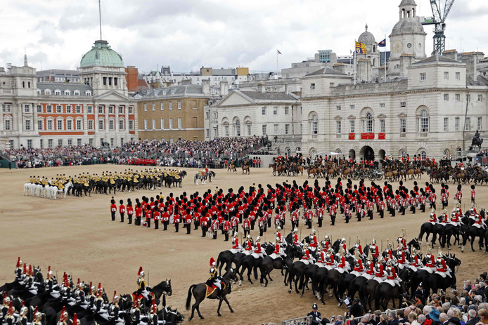 Britain's Queen Elizabeth II's Birthday Parade, 'Trooping the Colour', is performed in Horseguards parade in London on June 8, 2019. - The ceremony of Trooping the Colour is believed to have first been performed during the reign of King Charles II. Since 1748, the Trooping of the Colour has marked the official birthday of the British Sovereign. Over 1400 parading soldiers, almost 300 horses and 400 musicians take part in the event. (Photo by Tolga Akmen / AFP)