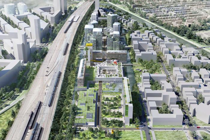 Het ontwerp voor de nieuwe stadswijk in Amsterdam.
