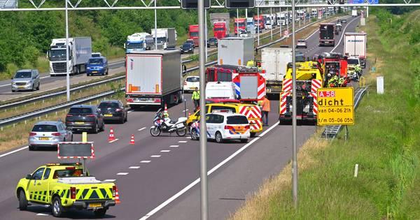 Drie vrachtwagens betrokken bij ongeluk A58 bij Ulvenhout.