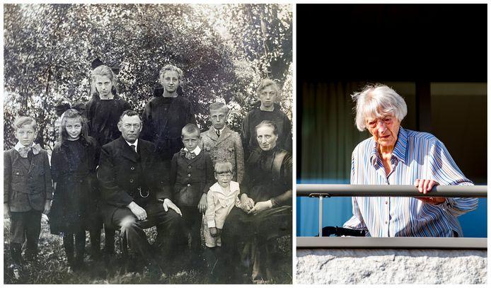 Cornelia Ras: links als jong meisje (tweede van links), rechts in het verzorgingstehuis toen ze 'wereldnieuws' werd omdat ze op 107-jarige leeftijd corona overleefde