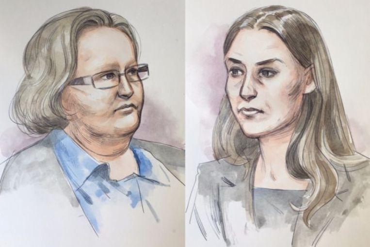 Trudi en Jemma in de rechtbank.