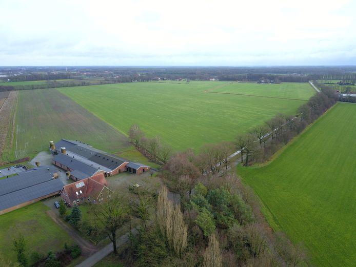 Het terrein links van de Masterveldweg moet vol worden gebouwd met zonnepanelen. Ten noorden van de weilanden begint Duitsland.