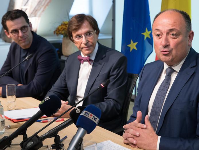 Jean-Marc Nollet (Ecolo), Elio Di Rupo (PS) et Willy Borsus (MR).
