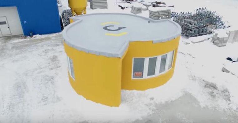 Voorbeeld van een 3D-geprint huis in Rusland. Het huisje werd gebouwd op slechts 24 uur tijd.