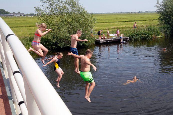 Ook het natuurwater in de Alblasserwaard was erg populair vandaag.