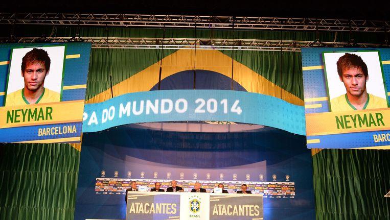 De Brazilianen maakten een mooie show van de bekendmaking van de selectie. Beeld afp