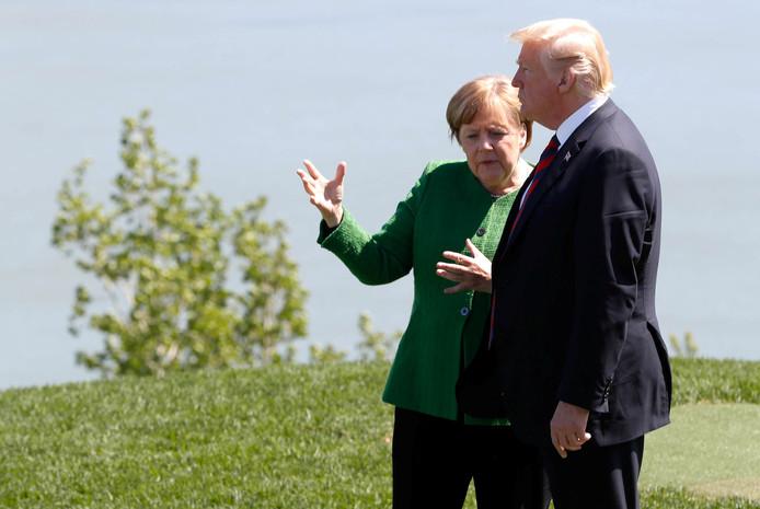 Angela Merkel en Donald Trump tijdens de G7 in Canada.