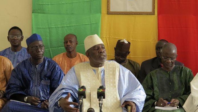 Premier Cheikh Modibo Diarra (midden) eerder deze week