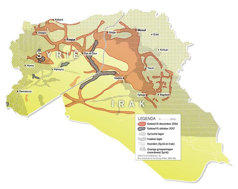 Door IS bezette gebieden in Syrië en Irak. Klik op de afbeelding voor een vergroting. Beeld