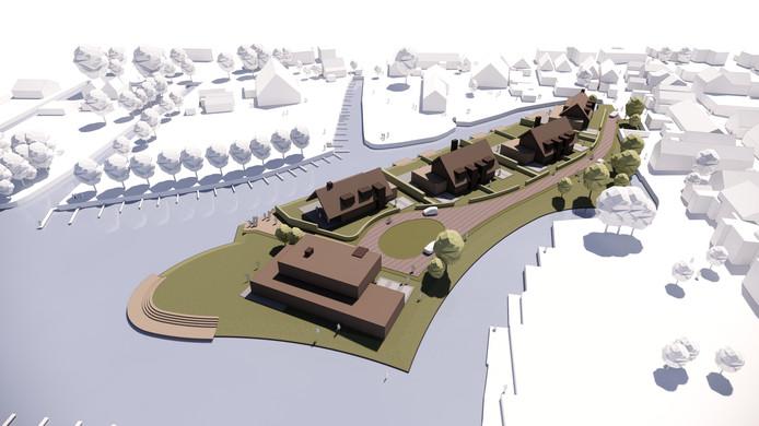 De eerste schetsen van hoe de zeven woningen op het schiereiland bij Westmaas er uit kunnen zien. ,,Deze kant gaat het wel op'', zegt architect Hans Roest.