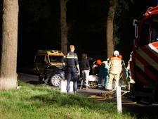 Auto ramt boom in Dalfsen, bestuurster naar het ziekenhuis