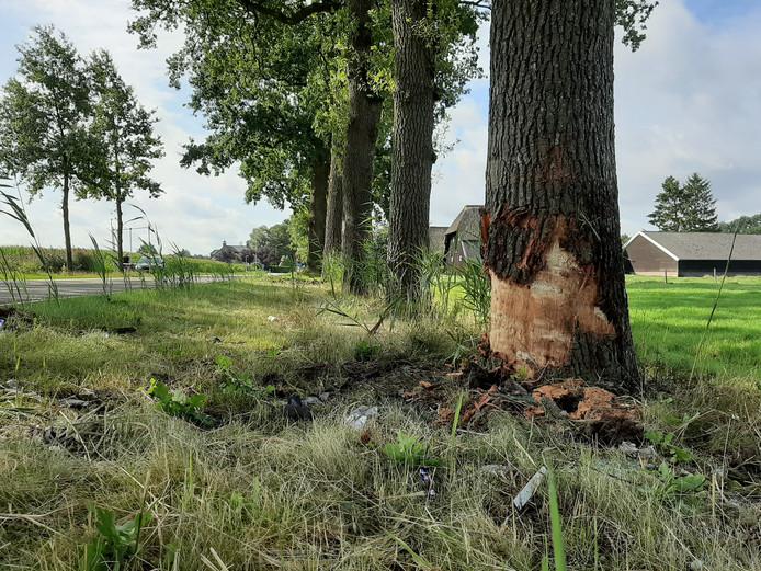 De plek van het dodelijke ongeluk aan de Edeseweg in Wekerom.