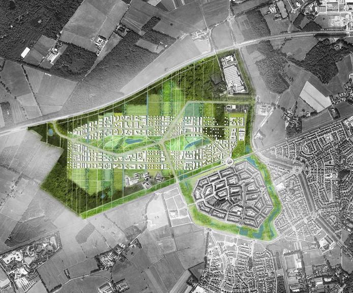 Plattegrond van de 'Slimme Wijk' in Helmond-Brandevoort, ofwel Brainport Smart District. De golvende lijn bovenaan is de N270. De plus-op-de-meterwoningen komen ten noordwesten van station Brandevoort (het witte bolletje).