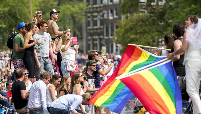Publiek bij de Gay Pride in Amsterdam