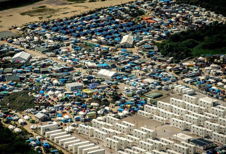 Luchtfoto van Calais, augustus 2016 Beeld afp