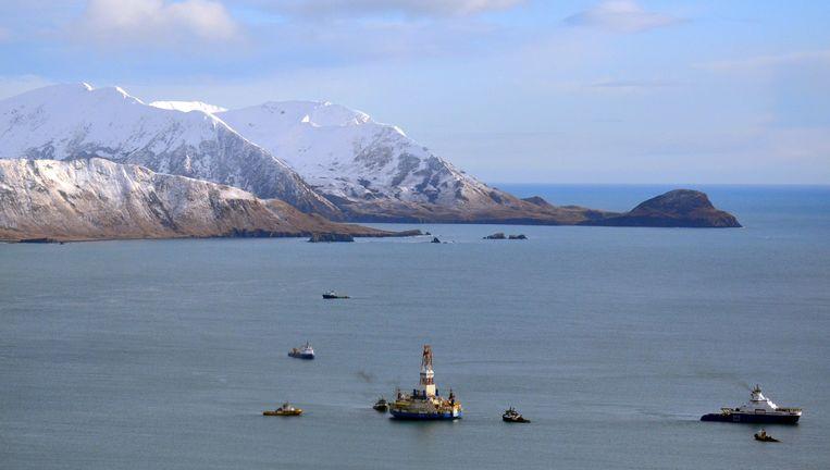 Boordplatform Kulluk van Shell voor de kust van Alaska. Beeld AP