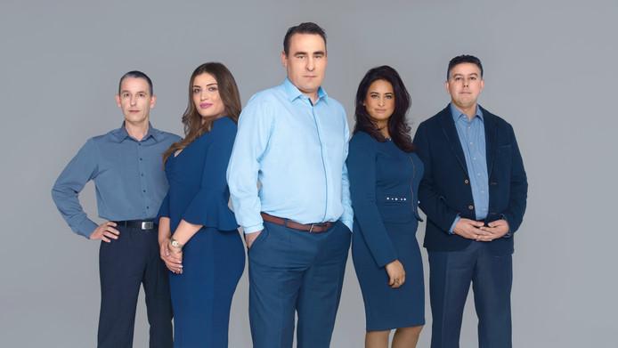 De top-5 van de kieslijst van Groep de Mos, met van links naar rechts: Arjen Dubbelaar, Nino Davituliani, Richard de Mos, Janice Roopram en Rachid Guernaoui.