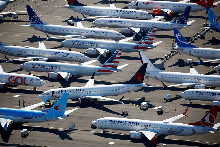 Boeing 737-MAX toestellen staan geparkeerd op een luchthaven in Seattle.