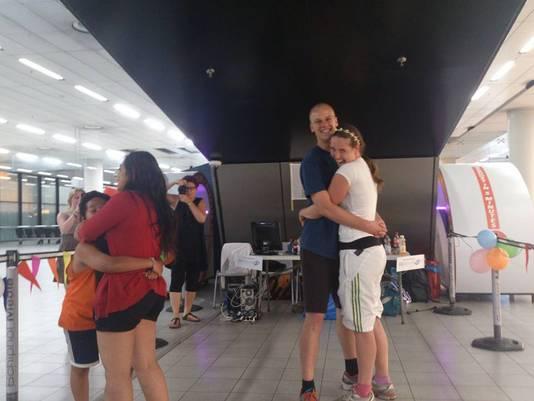 Na afloop wilde iedereen even knuffelen