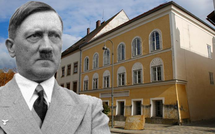Het geboortehuis van Hitler in Braunau am Inn in Oostenrijk wordt omgevormd tot een politiebureau