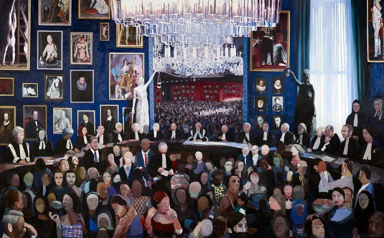 Voor het nieuwe pand van de Hoge Raad in Den Haag maakte Verhoeven in 2015 een 6,5 bij 4 meter metend schilderij over de geschiedenis van recht en onrecht in Nederland. Beeld Johannes Schwartz