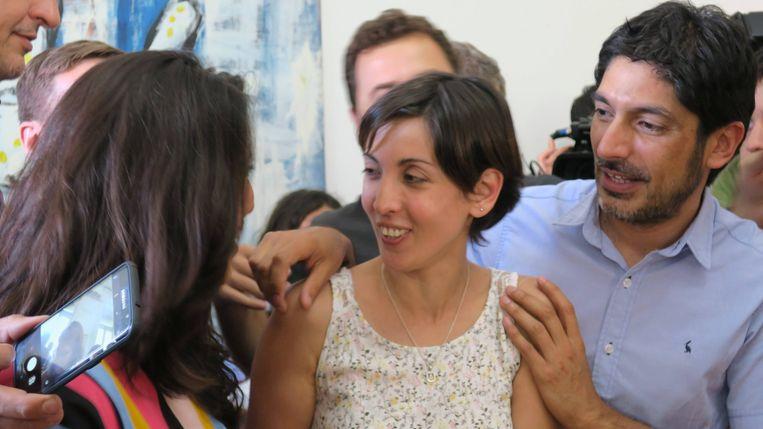 Adriana tijdens de persconferentie.